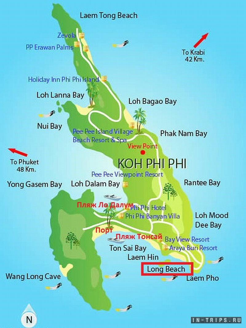 Пляжи Пхи Пхи на карте.