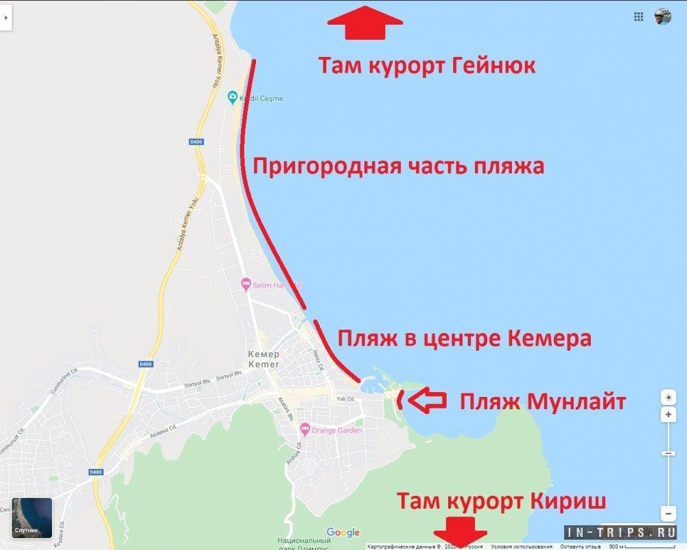 Пляжи Кемера на карте.