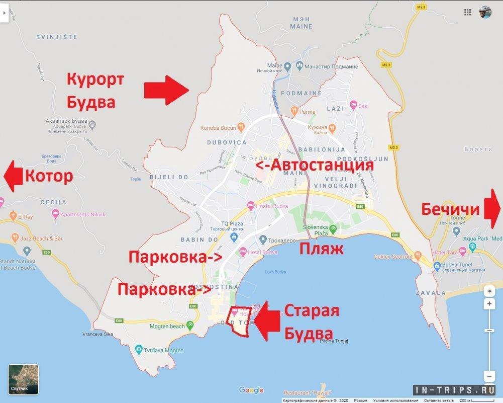 Старая Будва на карте курорта.